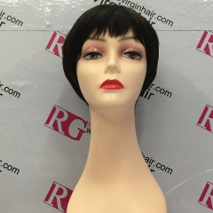 Short Human Hair Wig Pixie Cut Wig 001 Machine Made Wig
