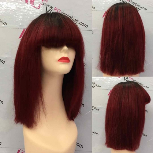 12inch Ombre Burgundy Fringe Wig Bangs Wig Straight Human Hair Wig