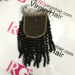 Kinky Curly Lace Closure Virgin Hair Top Closure High Quality