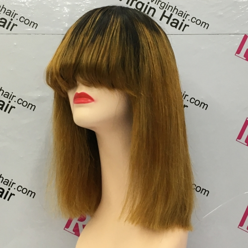 12inch Ombre Color 1b/30 Fringe Wig Bangs Wig Straight Human Hair Wig