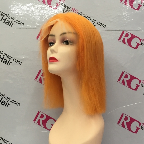 Precolored Lace Front Wig Orange Color Bob Wig 100% Human Hair Wig Best Quality