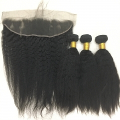 Kinky Straight Virgin Hair 3 Bundles with Lace Frontal Best Deal