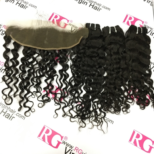 Italian Curl 3 Bundles with Lace Frontal Virgin Hair 100% Human Hair Best Deals