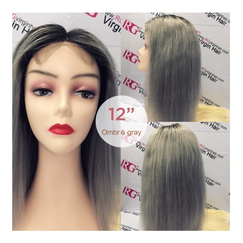 Custom Wig 12inch Ombre Gray Lace Closure Wig 100% Human Hair Wig