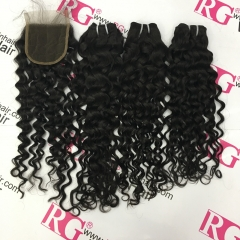 Italian Curls 3 Bundles with Lace Closure Virgin Hair bundles and Closure