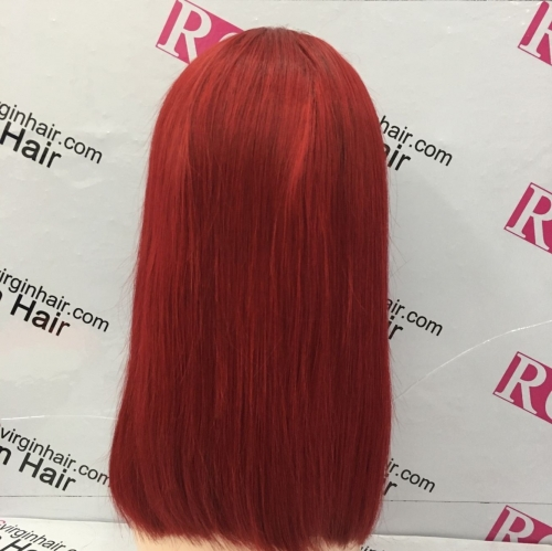 Red Color Lace Front Wig 13x6in Lace Bob Wig 100% Human Hair Wig Best Quality 10-12inch