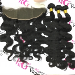Brazilian Virgin Hair 3 Bundles with Lace Frontal Body Wave
