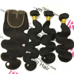 Brazilian Hair Body wave 3 Bundles with Lace Closure Virgin Human Hair weaves with closure, Free Shipping