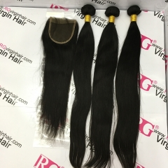 3 Bundles with Lace Closure Brazilian Virgin Hair Straight Human Hair weaves with closure Free Shipping