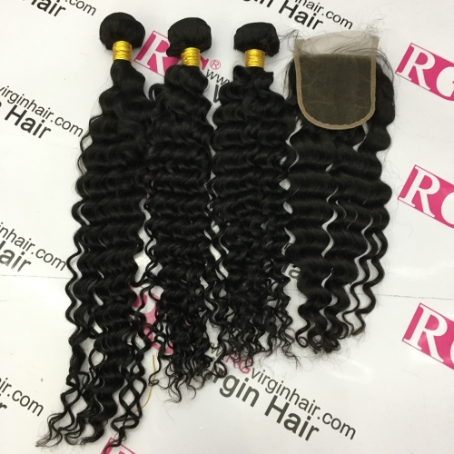 Brazilian Virgin Hair Deep wave 3 Bundles with 1 piece Lace Closure,  Human Hair weaves with closure, Free Shipping