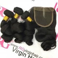 Brazilian Loose wave 3 Bundles with Lace Closure Virgin Human Hair weaves with closure