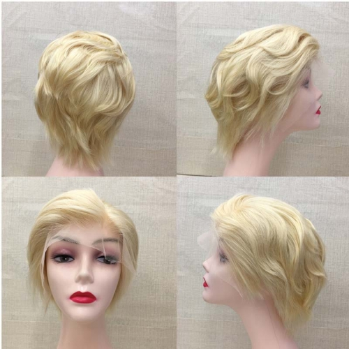 613 blonde lace front wig pixie cut human hair lace wig RGW061 Model