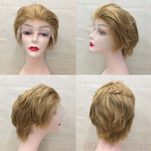 Transparent Lace Front Wig 6 inch Short Human Hair Wig Blonde Color 27#