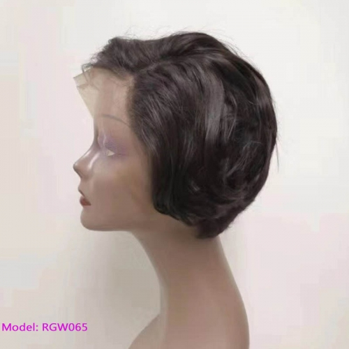 13x4inch Lace Frontal Wig Black Color Human Hair Wig RGW065 Model