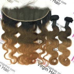 3 Tone ombre hair body wave 2 bundles with lace frontal 1b/4/30