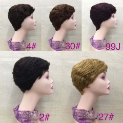 RGW071  Pixie cut Human Hair Wigs 2# 4# 30# 99j 27# colorful Wigs Wholesale Wig