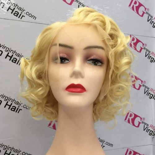 RGW075 Model 613 Bouncy Curls Human Hair Wig 13x6 Lace frontal wig 10inch