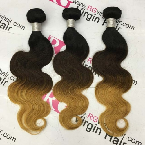 Ombre Hair Bundle 1b/4/27 3 tone Body wave Peruvian Human Hair Weaves Worldwide Shipping