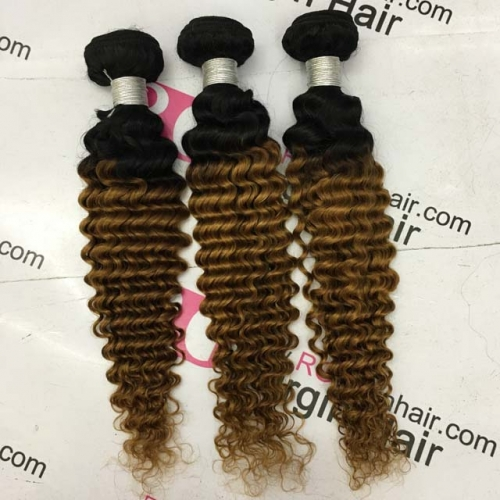 Ombre hair 1b30 deep wave Peruvian Human Hair Bundle 3bundles a pack Worldwide shipping
