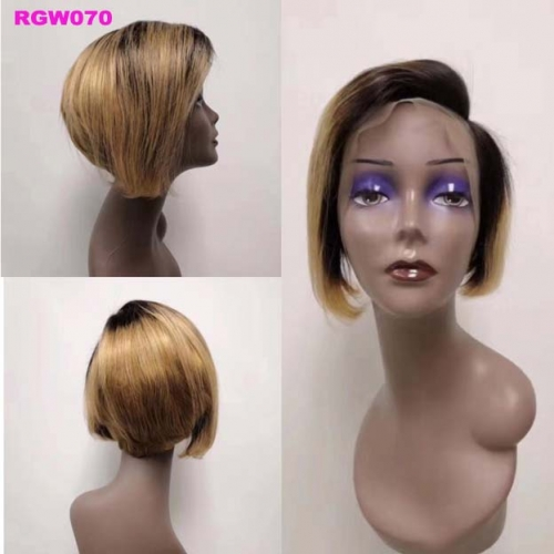 RGW070 Ombre 1b27 Lace Frontal Wig Side Part Human Hair Wig