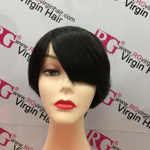 RGW137 Beautiful Long Fringe Human Hair Wig Free to make Left or right Part