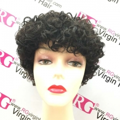 RGW101 Short Curly Human Hair Wig Popular Hair Style Natural Color Bangs Wig Wholesale Wig