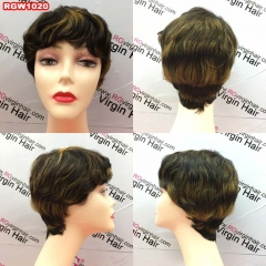 RGW1020 Pixie cut Wig Human Hair Wig 1b/30 colorful wig Short cut Hair Style