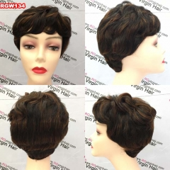 RGW134 Machine Weft Human Hair Wig Color 1b/33 Pixie Hair Wig Quality Hair Wig