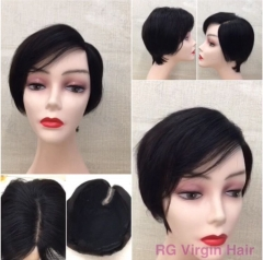 RGW081 Mono Lace Human Hair Wig Natural Color Left Part Wig Pixie Cut Short Wig Wholesale Virgin hair wig