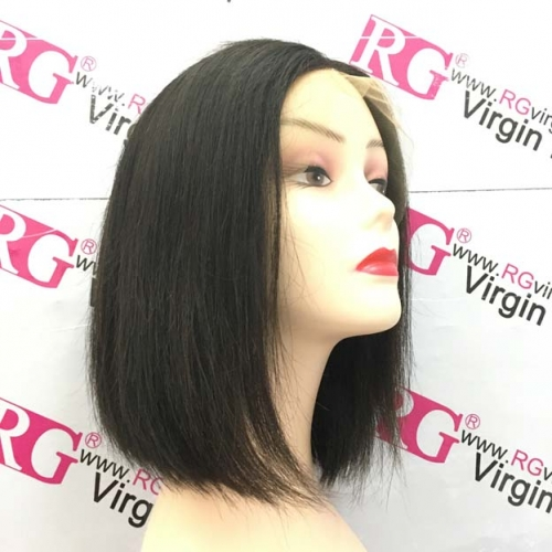 RGW083 Raw Hair bob wig 13X4 Lace Frontal Wig Natural Color Silky Straight Best Quality