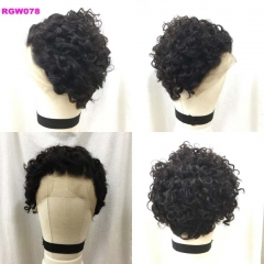 RGW078 Curly Lace Frontal Wig Human Hair Wig Color 1B Short Curly Wig Wholesale Price