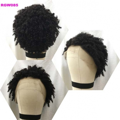 RGW085 Kinky Curly Lace Frontal Wig 100% Human Hair Wig Natural Color Pixie Wig by RG Virgin Hair