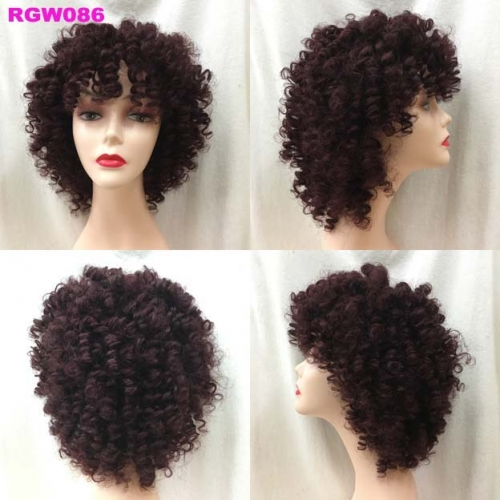 300grams Bangs Wig Human Hair Bouncy Curls 10inch 99J Colored Hair Wig RGW086 by RG Virgin Hair