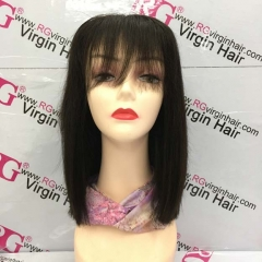 Bangs Wig Middle Part 4X4 Lace Closure bob wig 100% Human Hair Wig fuller wig by RG Virgin Hair