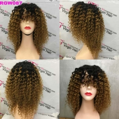 Ombre Wig 1b/30 Deep Wave Human Hair Bangs Wig Made with 3 Bundles Hair 300grams RG Virgin Hair Wig