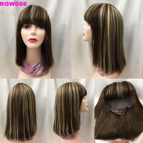 Piano Color 4/27  Human Hair Bangs Wig Bone Straight silky bob wig RGW088 By RG Virgin Hair