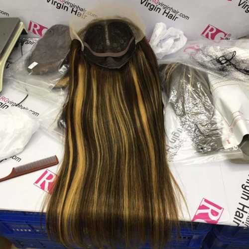 T Lace Wig Piano Color 4/27 Straight Long Wig 100% Human Hair Wig best deal
