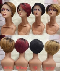 T01 Lace Wig Side Part Human Hair Wig Pixie Cut Wigs 4 Colors T Lace Wigs