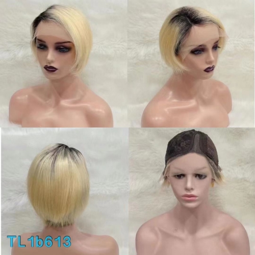 NEW HOT SALE TL1B613 T Lace Wig Pixie Cut Ombre Blonde 613 100% Human Hair Wig Side Part