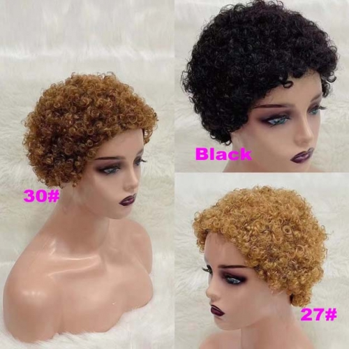 RGW096 Hot Sale NEW Wig Pixie Curly Human Hair Wig Soft Human Hair Wig By RG Virgin Hair