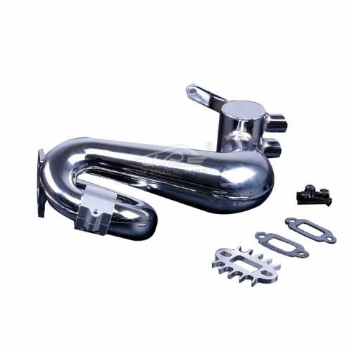 Alloy silencer exhaust pipe with Silver metal clamp for Hpi Baja 5B 5T 5SC