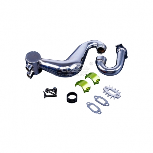 Alloy silencer exhaust pipe with Green metal clamp for Hpi Baja 5B 5T 5SC