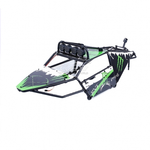 Alloy Roll cage kit/Plastic Green image windows with lamp for Hpi Baja 5T 5SC