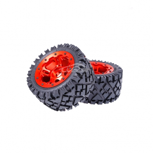 Rear All -terrian tire with Orange red hub set 2pcs for HPI Baja 5B