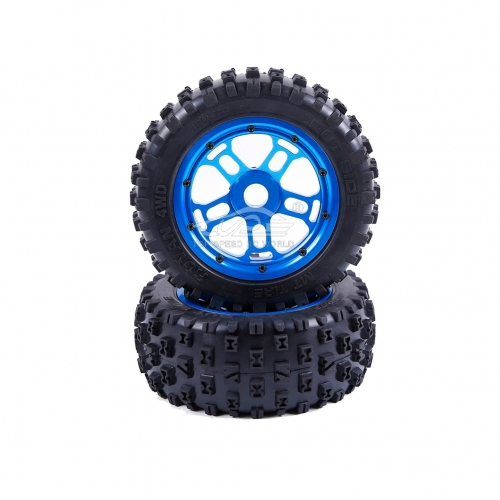 Wheel tire with Blue hub set 2pcs for Losi 5ive T