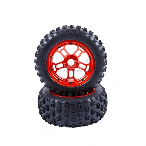 Wheel tire with Red hub set 2pcs for Losi 5ive T