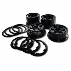 TOP SPEED RC WORLD Front and Rear Wheel Rim With Beadlock Ring Set For 1/5 Hpi Baja Rovan KM 5B