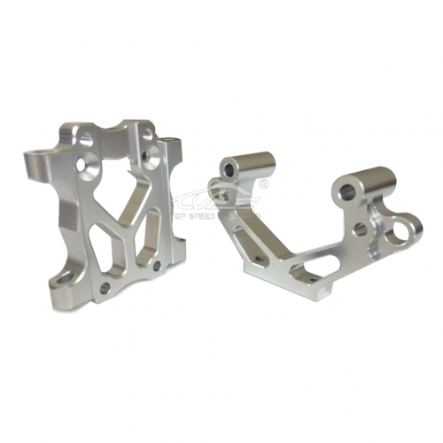 TOP SPEED RC WORLD Alloy Front Bulkhead Set Silver For 1/5 RC Hpi BAJA Rovan King Motor 5B 5T 5SC
