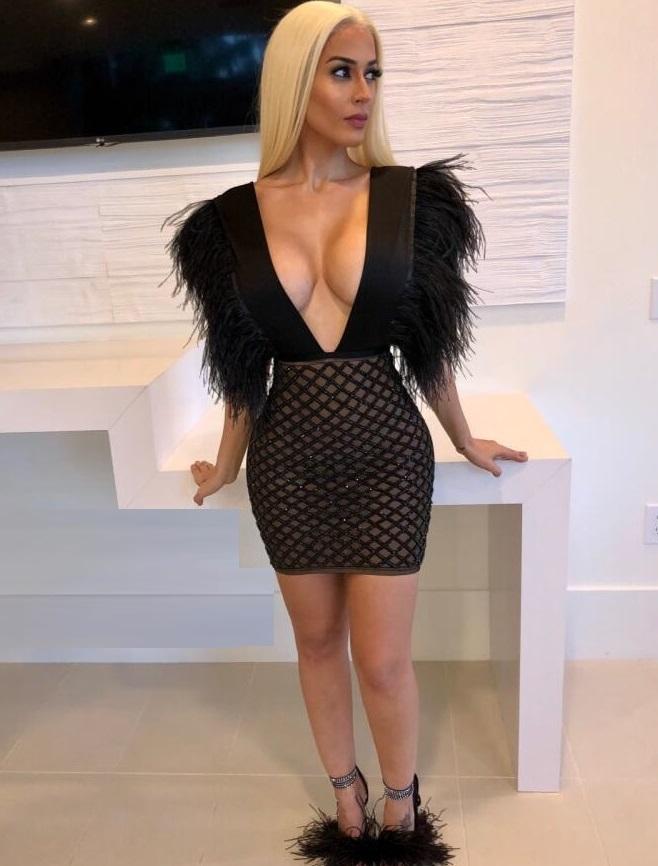 New Fashion Sexy Deep V Neck Bandage Short Women Dress