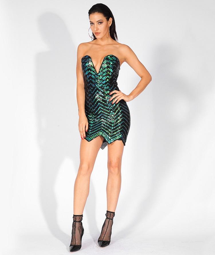 Green Off Shoulder Sequin Dress